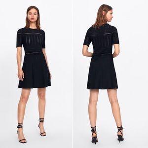 ZARA Black LBD Open Knit A-line Dress sz Large